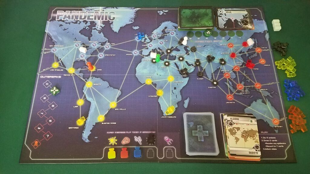 Pandemic board game review - middle of a three player game