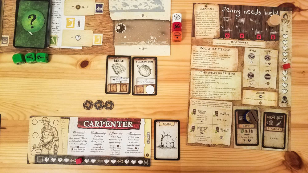 Robinson Crusoe board game review - carpenter and scenario sheet