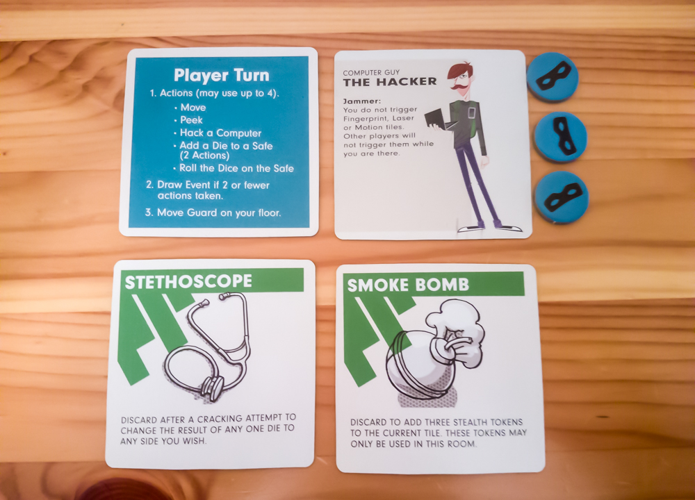 Burgle Bros. review - player aid, character card, and tools