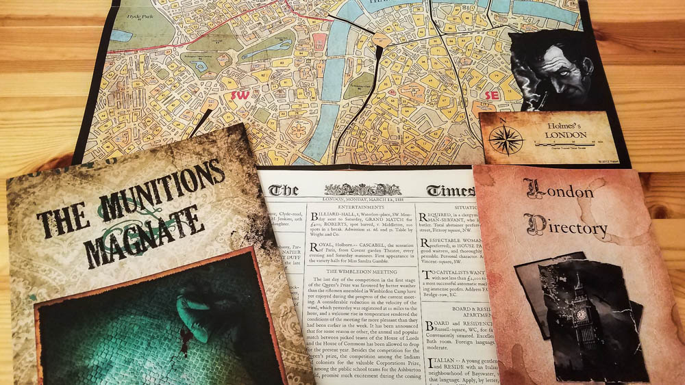 Sherlock Holmes Consulting Detective review - directory, map, and case book