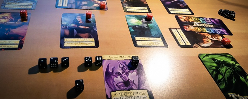 eight epics cards and dice