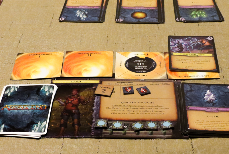 Aeon's End review - character mat and cards