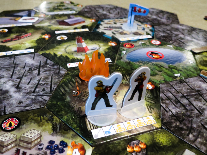 Hotshots board game review - tiles, flames, and firefighters