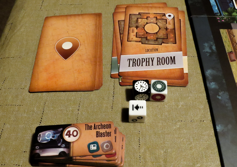 Professor Evil and The Citadel of Time review - room cards, tiles, and dice