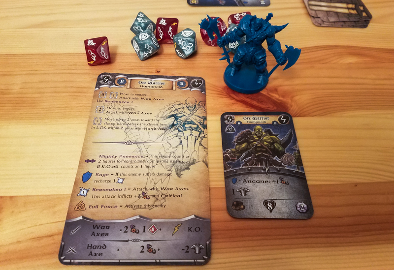Sword & Sorcery review - enemy card, sheet, and mini
