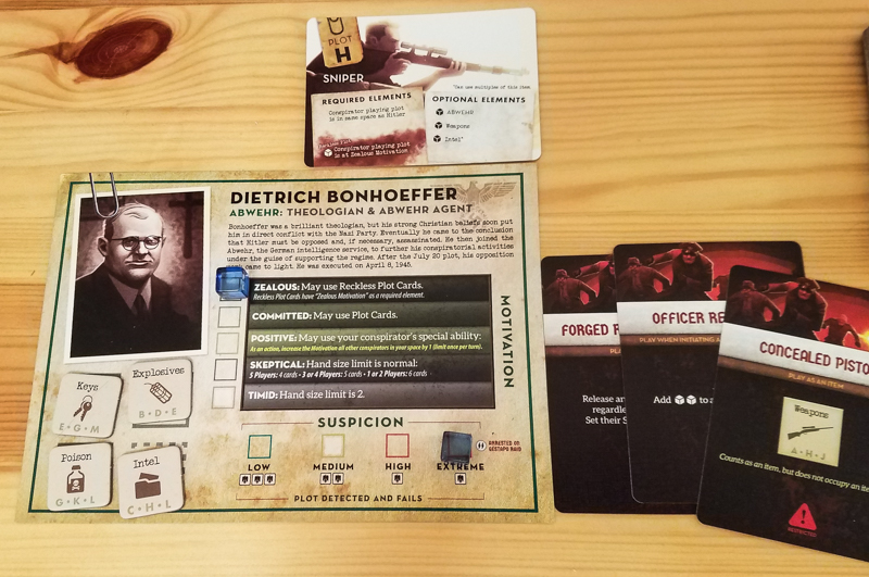 Black Orchestra review - conspirator board and cards