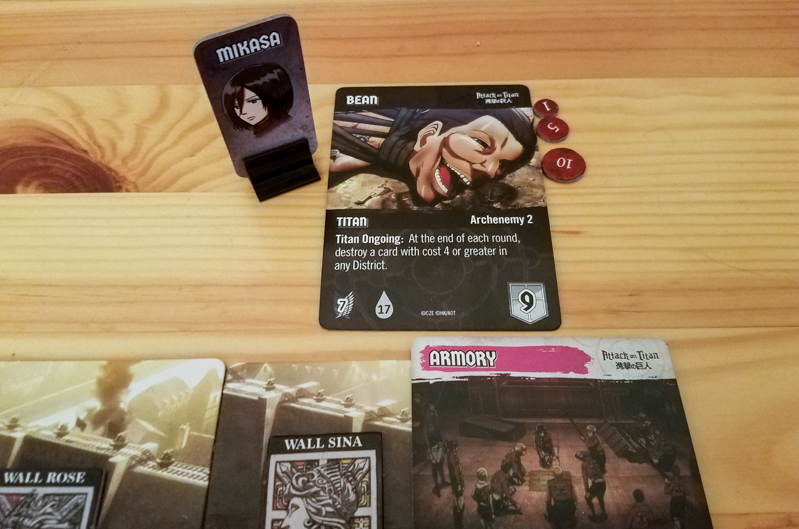 Attack on Titan Deck-Building Game review - fighting a big titan
