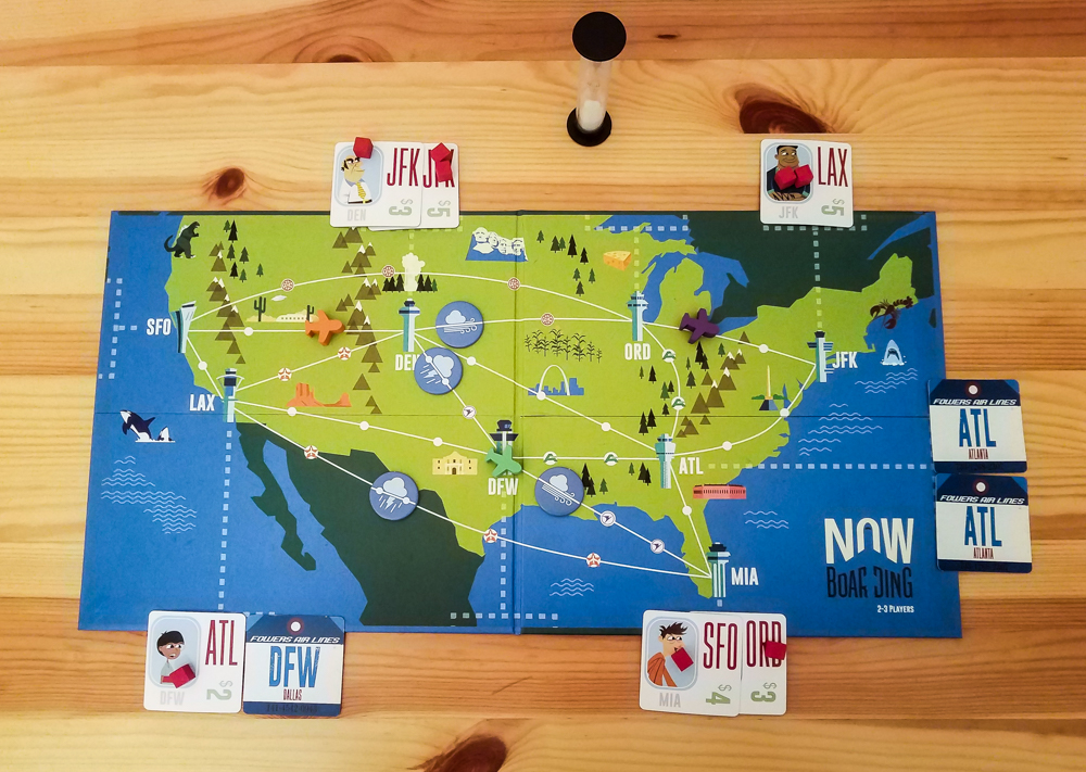 Now Boarding review - three-player game in progress