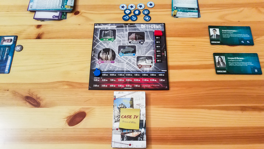 Detective A Modern Crime Board Game review - case set up