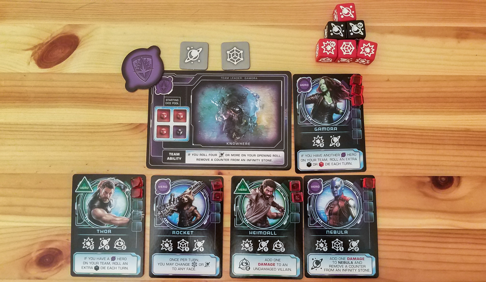 Thanos Rising review - team card, heroes, and dice