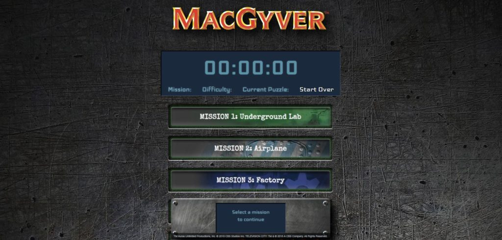 MacGyver The Escape Room Game review - website