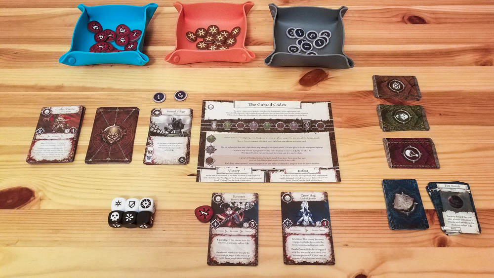 Heroes of Terrinoth review - quest sheet and other components