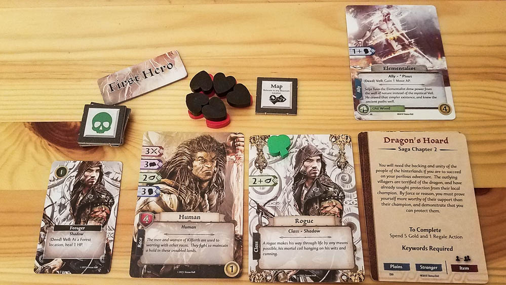 Gloom of Kilforth review - character cards and tokens