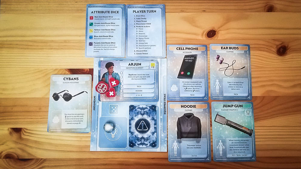 Comanauts review - player sheet and cards