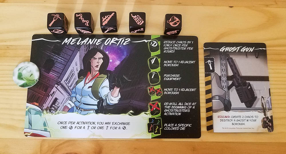 Ghostbusters Blackout review - character card, equipment, and dice