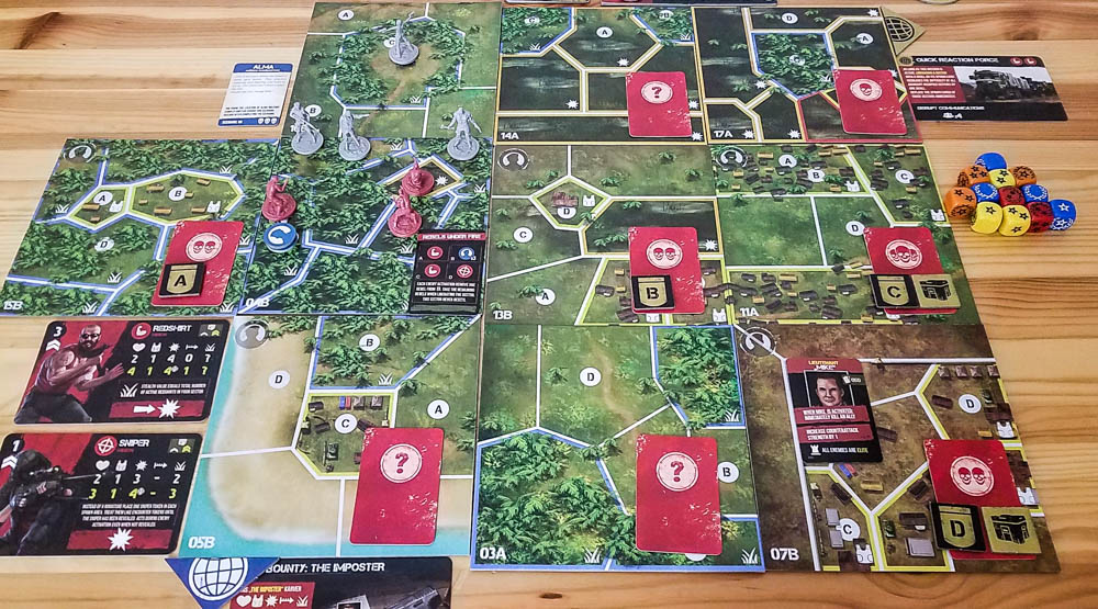 Jagged Alliance The Board Game review - beginning of a scenario