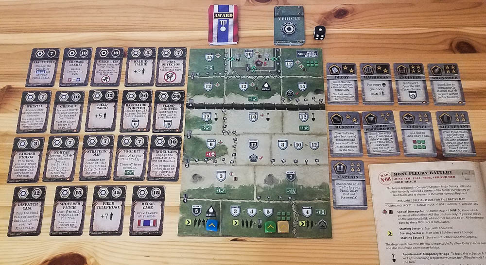 D-Day Dice second edition review - battle map, specialists, and other cards