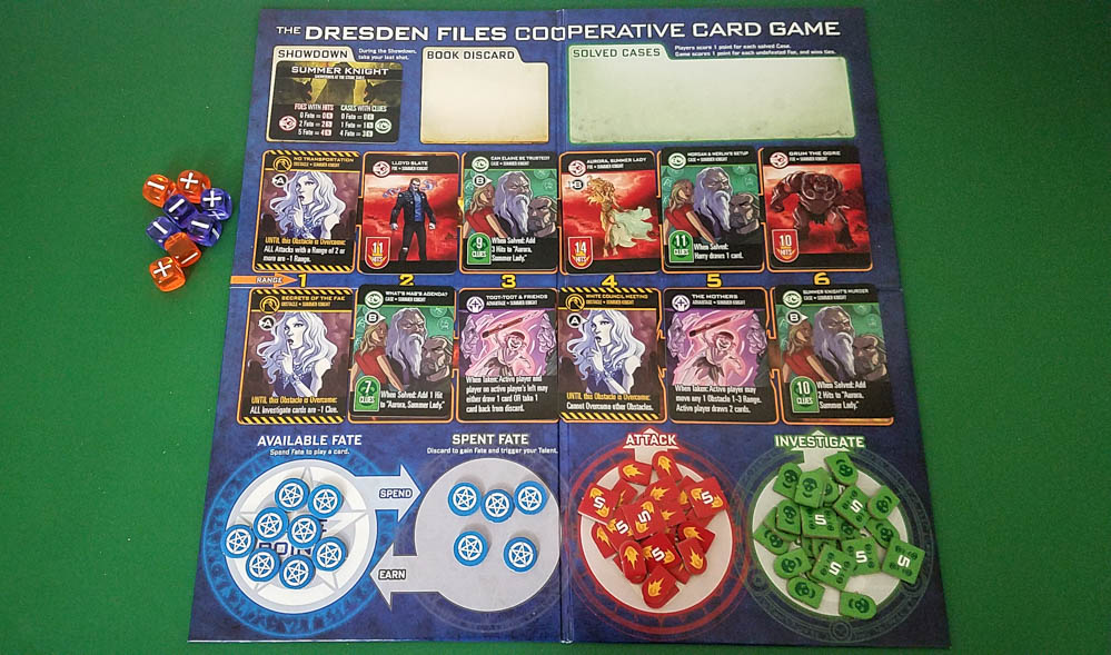 The Dresden Files Cooperative Card Game review - board setup