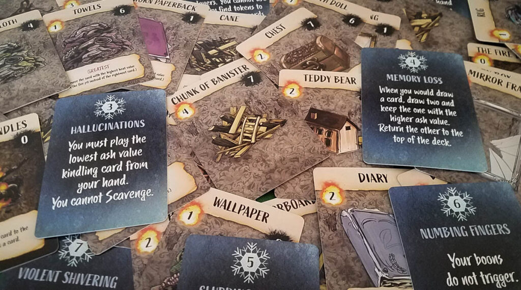 The Coldest Night review - Kindling and Frostbite cards